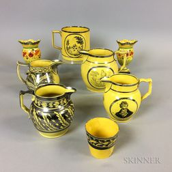 Nine Staffordshire Yellow-glazed Ceramic Vessels