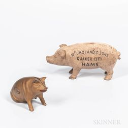 Two Cast Iron Pig Banks