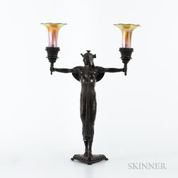 Emile Louis Picault (French, 1833-1915)       Art Deco Bronze Table Lamp