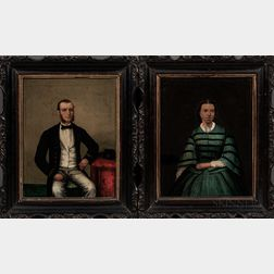 Chinese School, Mid-19th Century    Pair of Portraits of a Western Man and Woman