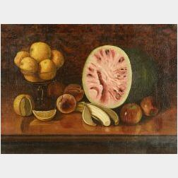 American School, 19th Century  Still Life with Fruit.