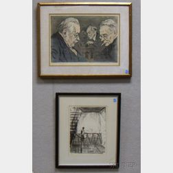 Lot of Two Framed Works on Paper