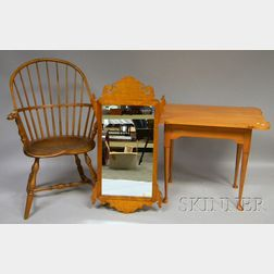 D.R. Dimes Chippendale-style Tiger Maple Mirror, a Hagerty Cohasset Colonial Queen Anne-style Maple Porringer-top Tea Table, and a W...