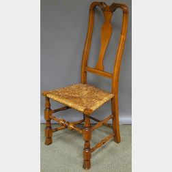 Queen Anne Carved Maple Yoke-back Side Chair with Spanish Feet