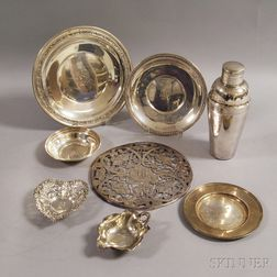 Eight Sterling Silver Dishes and Tableware Items