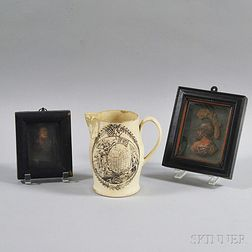 Liverpool Transfer-decorated Creamware Jug and Two Framed Wax Portrait Miniatures