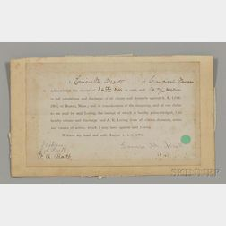 Alcott, Louisa May (1832-1888) Receipt Signed, Concord, Massachusetts, 1 August 1881.