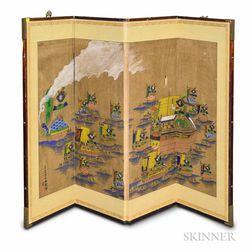 Four-panel Folding Screen Depicting the Korean Turtle Ships