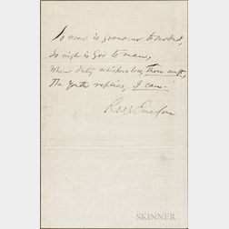 Emerson, Ralph Waldo (1803-1882) Autograph Sentiment Signed.