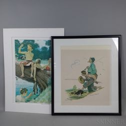 Norman Rockwell (American, 1894-1978)      Two Artist-proof Color Lithographs Featuring Fishing: Grandpa and Me: Fishing