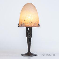 Charles Schneider Mottled Art Glass Shade on Wrought Iron Lamp Base
