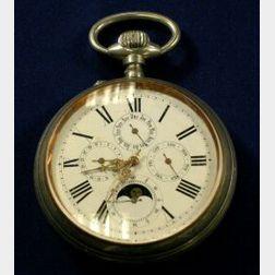 Antique Metal Triple Calendar Moonphase Coach Watch