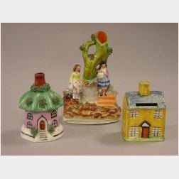 Staffordshire Figural Group, Cottage Bank, and Incense House.