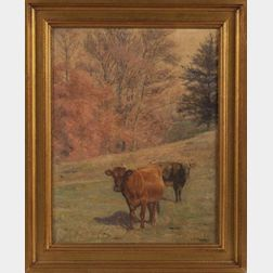 Charles Franklin Pierce (Sharon, New Hampshire 1884-1920)    Landscape with Cows.