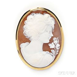 18kt Gold and Shell Cameo Pendant/Brooch