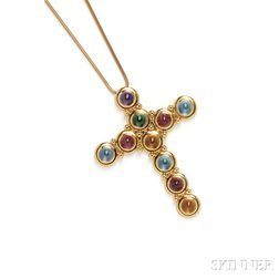 18kt Gold Gem-set Cross, Paloma Picasso, Tiffany & Co.