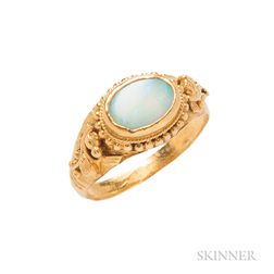 Antique High-karat Gold and Opal Ring