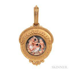 Antique 18kt Gold and Enamel Locket, Eugene Fontenay
