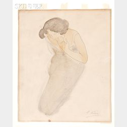 Auguste Rodin (French, 1840-1917)      Psyché. Femme agenouillée, portant la main sur sa joue