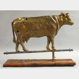 Gold-painted Molded Copper Cow Weather Vane