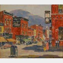 James Jeffrey Grant (American, 1883-1960)      Street Corner, Salamanca, New York.