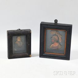Two Framed Wax Portrait Miniatures