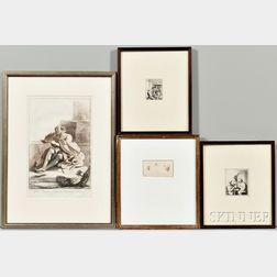 Four Framed Etchings:      Adriaen Jansz van Ostade (Dutch, 1610-1685), The Empty Jug