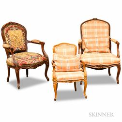 Three French Provincial Carved Fruitwood Fauteuils