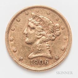 1906 $5 Liberty Head Gold Coin