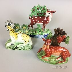 Three Staffordshire Bocage Figures with Deer