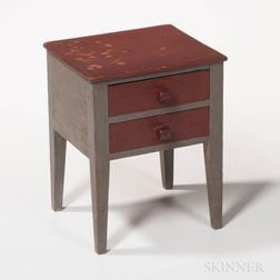 Miniature Red- and Gray-painted Two-drawer Stand