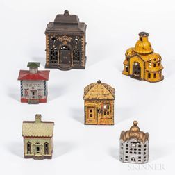 Six Cast Iron Architectural Banks