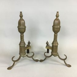 Federal-style Brass and Iron Faceted Andirons