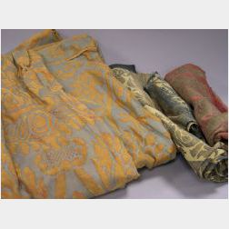 Fortuny Resist Curtain Panel and Three Small Fragments.