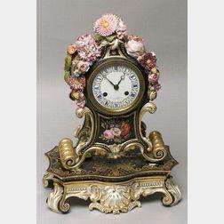 Paris Porcelain Mantel Clock and Stand