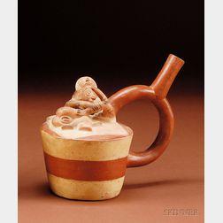South American Pre-Columbian Stirrup Spout Pottery Vessel