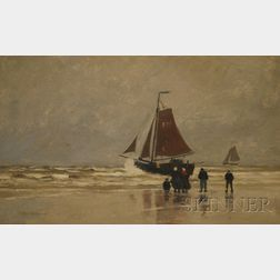 George Wainright Harvey (American, 1855-1930)      View of Breton Figures by the Shore.