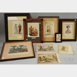 Nine Prints Depicting American Indians