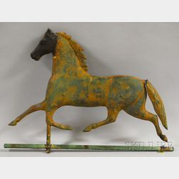 Cast Iron and Molded Copper Running Horse Weather Vane