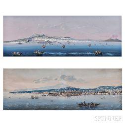 Neapolitan School, 19th Century      Two Views of the Bay of Naples and Mount Vesuvius