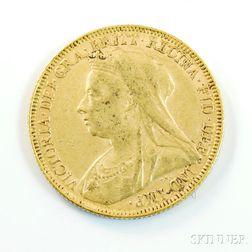 1893 British Gold Sovereign.     Estimate $200-300