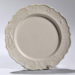 White Salt-glazed Stoneware King of Prussia   Plate