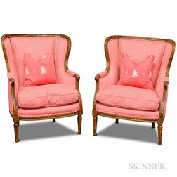 Pair of Louis XVI-style Carved Oak Upholstered Bergeres