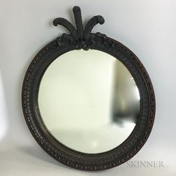Neoclassical-style Carved Mahogany Prince of Wales-crested Mirror