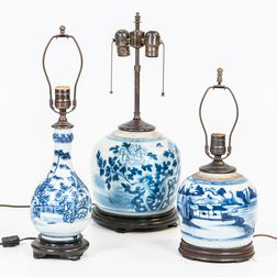 Blue and White Porcelain Ginger Jars and a Bottle as Lamps