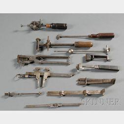 Twelve Steel and Iron Watchmaker's Tools