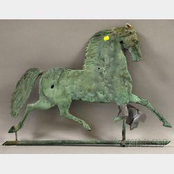 "Patinated Molded Copper ""Blackhawk"" Running Horse Weather Vane"