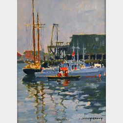 James Jeffrey Grant (American, 1883-1960)      Boats at Dock, Gloucester, Massachusetts