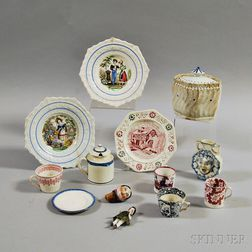 Group of Mostly Transfer-decorated Ceramic Items