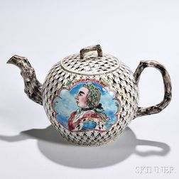 White Salt-glazed Stoneware King of Prussia   Teapot and Cover
